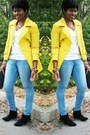 Yellow-coat-white-t-shirt