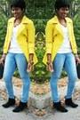 Yellow-coat-white-t-shirt