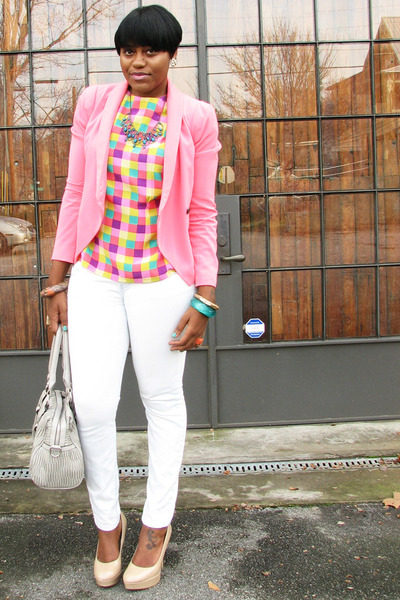 multi-color blouse - white asos jeans - bubble gum The Limited blazer