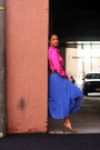 Hot-pink-bcbg-blouse-blue-blue-pleated-zara-skirt-brown-sam-edelman-heels