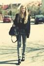 Charcoal-gray-acid-washed-monki-jeans-black-transparent-atmosphere-shirt