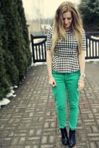heather gray peplum Atmosphere blouse - black block heel H&M boots