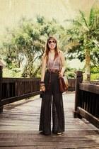 puce wide leg Forever 21 pants - dark brown satchel bag