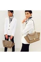 beige leather Celine bag - white white blazer
