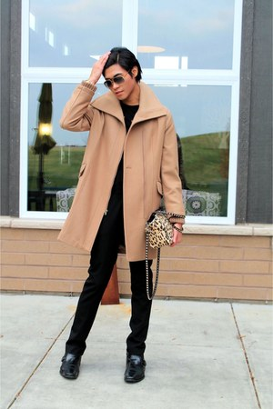 camel wool coat - light yellow bag