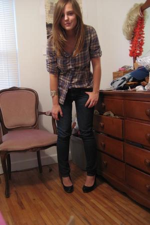 H&M shirt - f21 bracelet - jeans - Wet Seal shoes