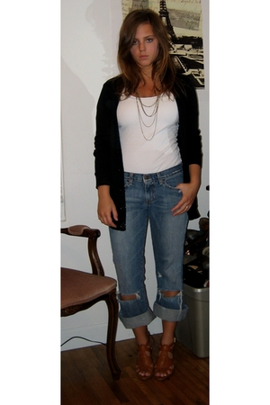 aa sweater - f21 necklace - abecrombie jeans - Wet Seal shoes
