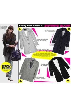 black blazer - silver blazer - gray blazer