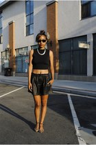 black Zara shorts - black Forever 21 top - bronze Zara flats