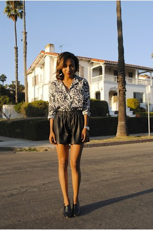 black Zara shorts - black JCrew blouse