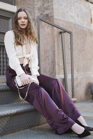 purple satin vintage pants