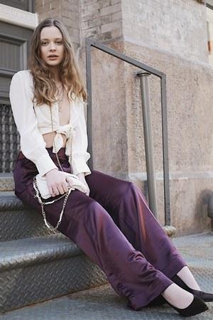 purple satin vintage pants