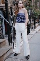 blue camo Missguided blouse - white wide leg Ralph Lauren pants