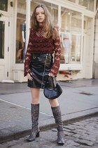 black vinyl Primark skirt - maroon lace Romeo & Juliet Couture blouse