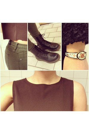 vintage shirt - black boots Dr Martens boots - army Dr Denim jeans