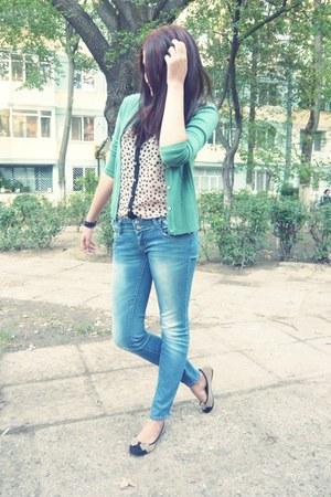H&M flats - Zara jeans - Accessorize ring - Topshop blouse - Zara cardigan