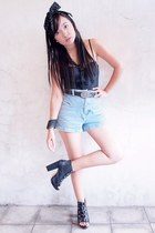 light blue vintage shorts - black Victorias Secret - black Freego belt - black P