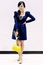navy by Jannie Panzo dress - yellow Impulse Co bag - zebra print pumps