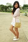 Pink-bado-top-white-shorts-white-shoes-beige-purse-brown-accessories