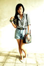 White-blue-blouse-blue-shorts-black-belt