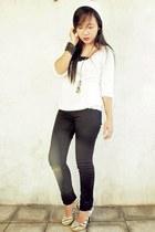 white sweater - black top - black pants - white -