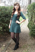 green Mango dress - black shoes