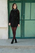 black coat - black skirt - - black boots