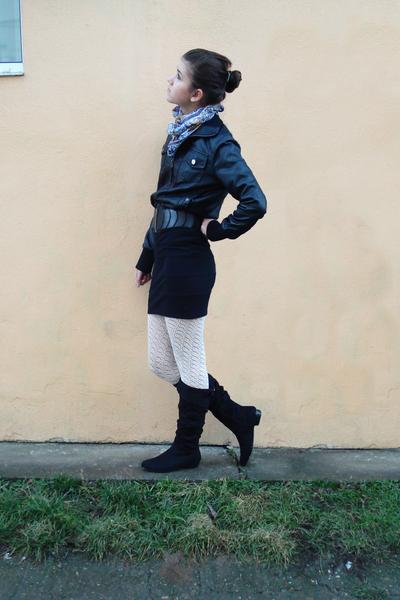 blue unknown scarf - black unknown jacket - black unknown belt - black unknown s