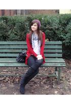 red Zara cardigan - black Dosenbach boots - purple Colors of the World hat