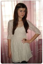 black tights - white Atmosphere dress - brown Accessorize