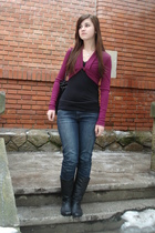 purple unknown cardigan - black New Yorker top - black Orsay jeans - black unkno