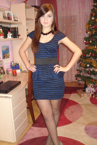 blue Zara dress - black meli melo necklace - brown Accessorize accessories - sil