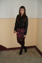 black jacket - black Zara skirt - - black shoes