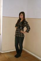 black unknown belt - black Orsay jeans - black Deichmann boots - brown unknown s