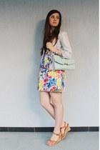 floral dress - off white young blazer - light blue Accessorize bag