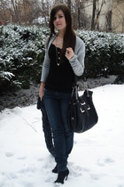 silver New Yorker sweater - black New Yorker top - black unknown boots - black O
