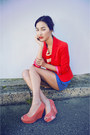 Red-zara-jacket-blue-gary-pepper-vintage-shorts-carrot-orange-rodeo-show-top