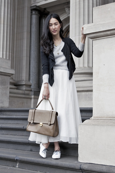 white Orbit shoes - black from Tokyo jacket - brown vintage bag