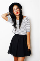 black gary pepper vintage skirt - white vintage top - black vintage hat