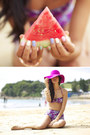 Hot-pink-american-apparel-hat-gold-benah-bracelet