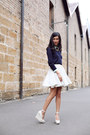 White-american-apparel-skirt-aquamarine-zara-shirt
