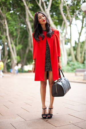 red Shakuhachi cape - charcoal gray gary pepper vintage dress - black Marcs bag