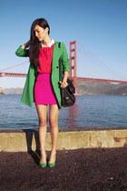 turquoise blue Zara coat - black See by Chloe bag - red Topshop top