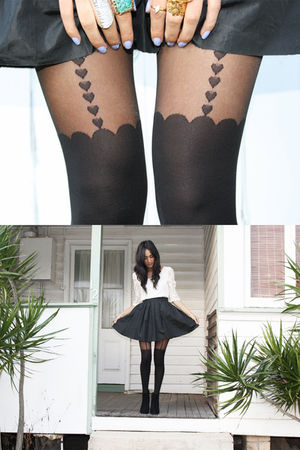 black gary pepper vintage skirt - black Jeffrey Campbell shoes - white gift top