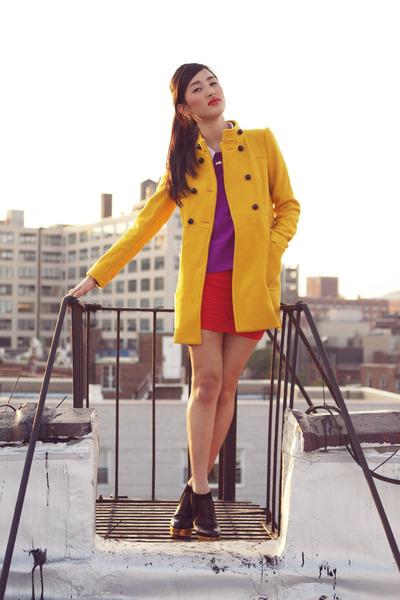gold Zara coat - black Charlotte Olympia boots - magenta Topshop top