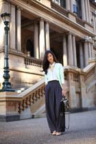 navy Premonition pants - white Zara shirt - black brahmin bag