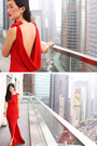 Gold-kenneth-jay-lane-bracelet-red-ruby-dress