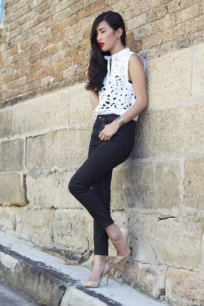 gold gary pepper vintage heels - black J Brand jeans - white Zimmermann top