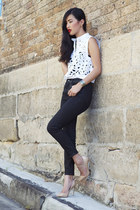 gold gary pepper vintage heels - black J Brand jeans - white Zimmermann top