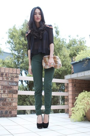 navy Ellery top - black Topshop shoes - teal American Apparel pants